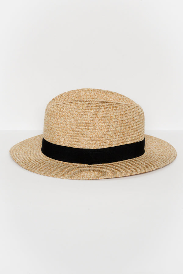 Natural Wide Brim Travel Fedora - Blue Bungalow