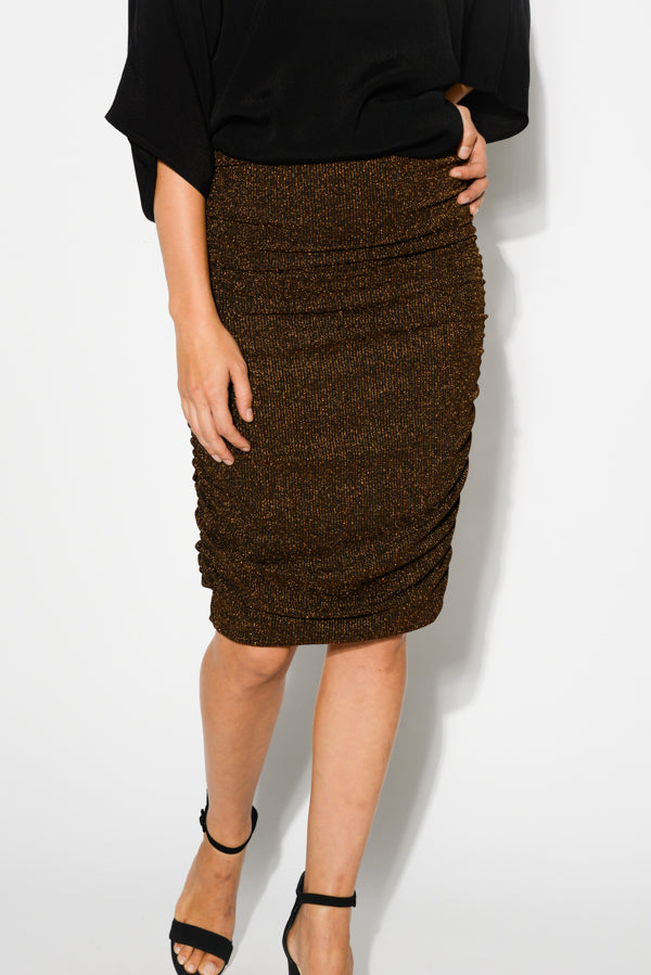 Bronze Metallic Ruched Skirt - Blue Bungalow