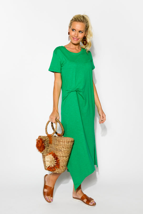 Green Side Ruched Cotton Dress - Blue Bungalow
