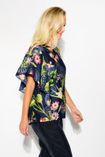 Fleur Navy Butterfly Sleeve Top - Blue Bungalow