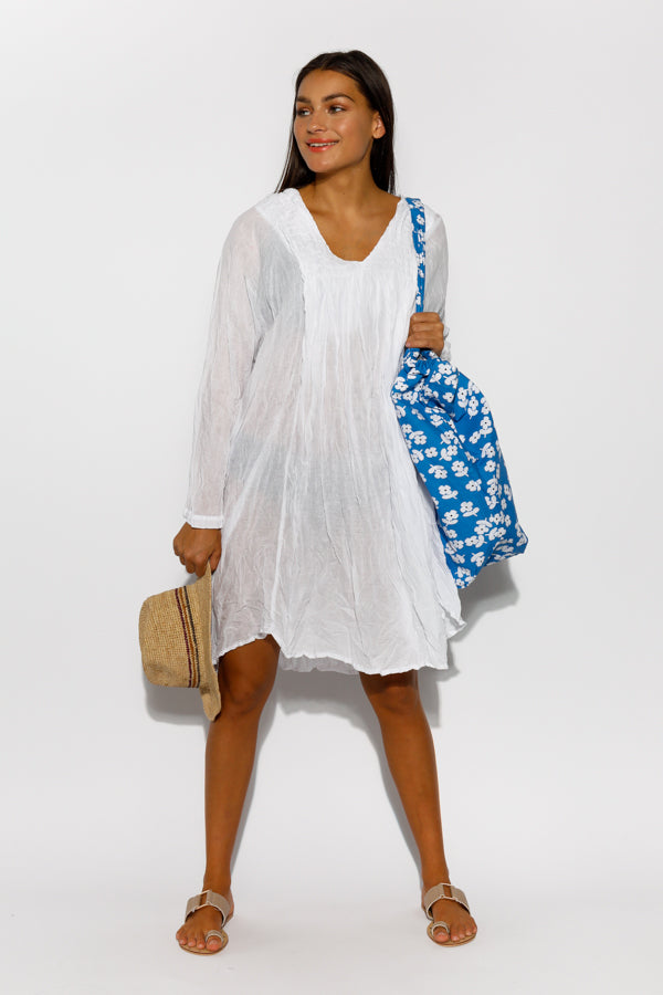 White Cotton Pucker Dress - Blue Bungalow