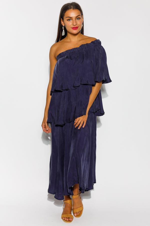 Indigo Three Way Cupro Dress