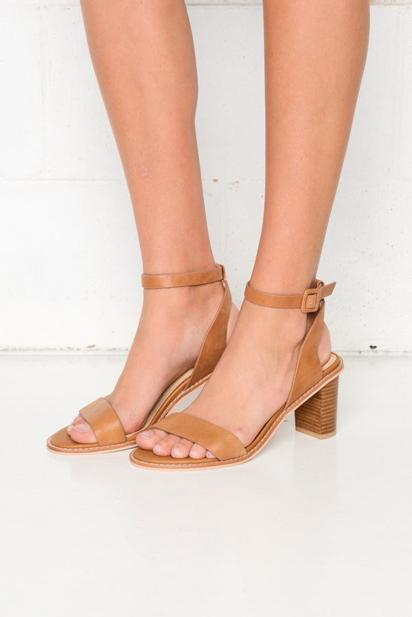 Tamika Tan Leather Heels - Blue Bungalow