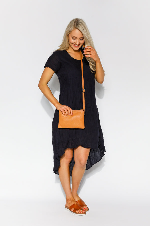 Janis Navy Crinkle Cotton Dress - Blue Bungalow