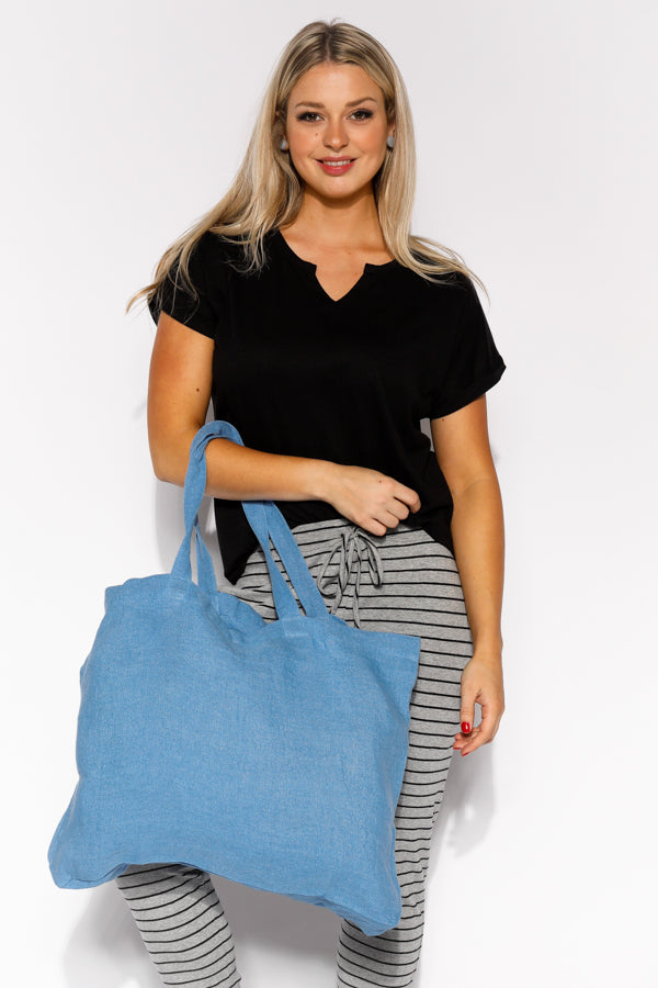 Blue Linen Tote Bag - Blue Bungalow