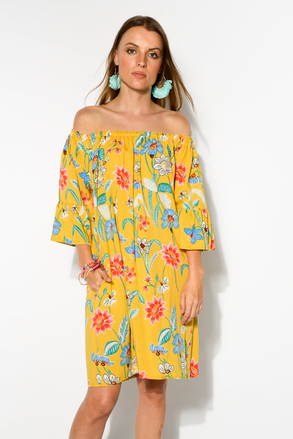 Mustard Floral Molly Off Shoulder Dress - Blue Bungalow