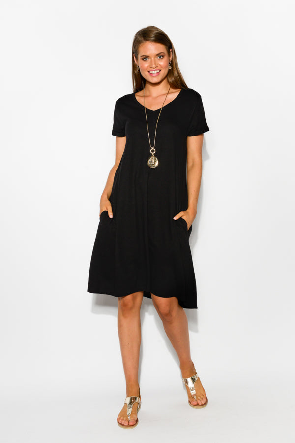 Black Cotton Bamboo Swing Dress - Blue Bungalow
