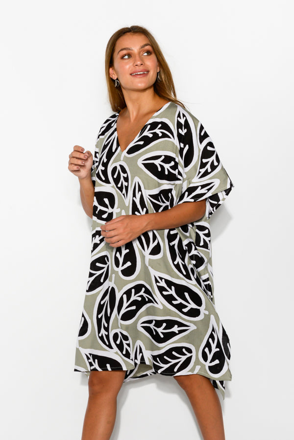 Sage Leaf Kaftan Dress