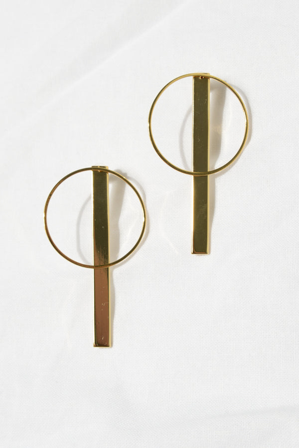 Gold Hoop and Bar Earring - Blue Bungalow