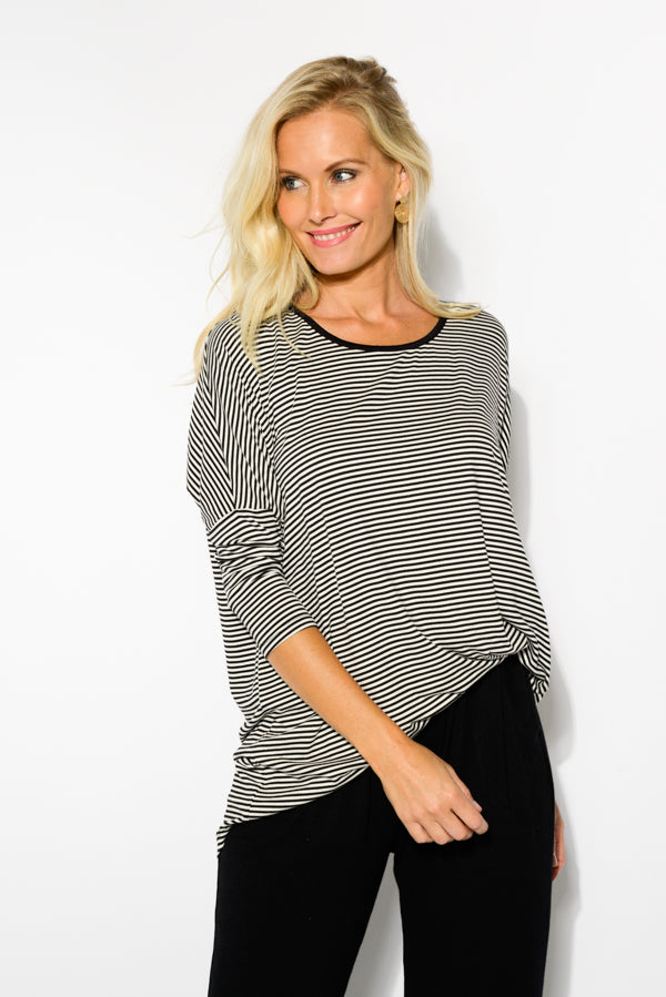 Black Edged Stripe Milan 3/4 Sleeve Top