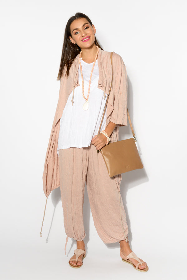 Blush Slouch Side Tie Pants - Blue Bungalow