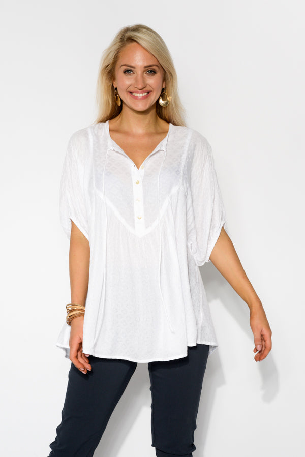 White Textured Neck Tie Top