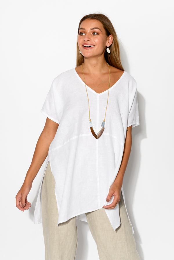 White Side Split Linen Top - Blue Bungalow