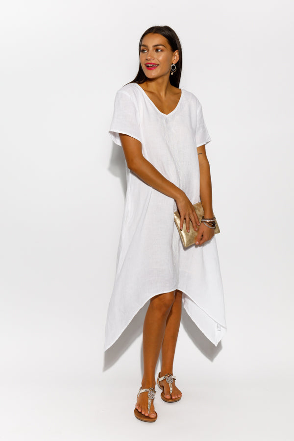 Tivoli White Linen Dress - Blue Bungalow