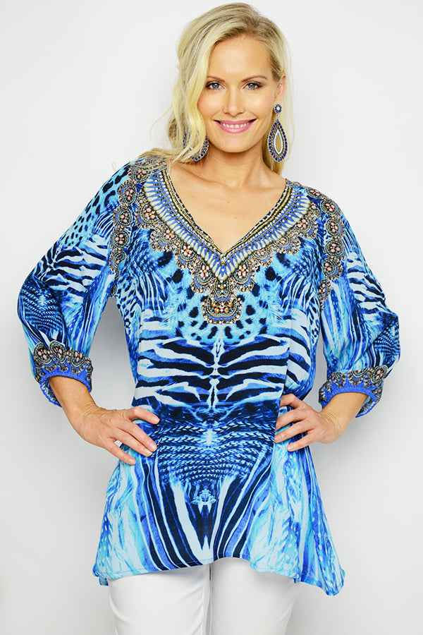 Blue African Queen Silk Gypsy Top - Blue Bungalow