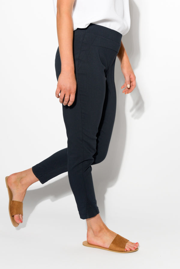 Navy Straight Crop Pants