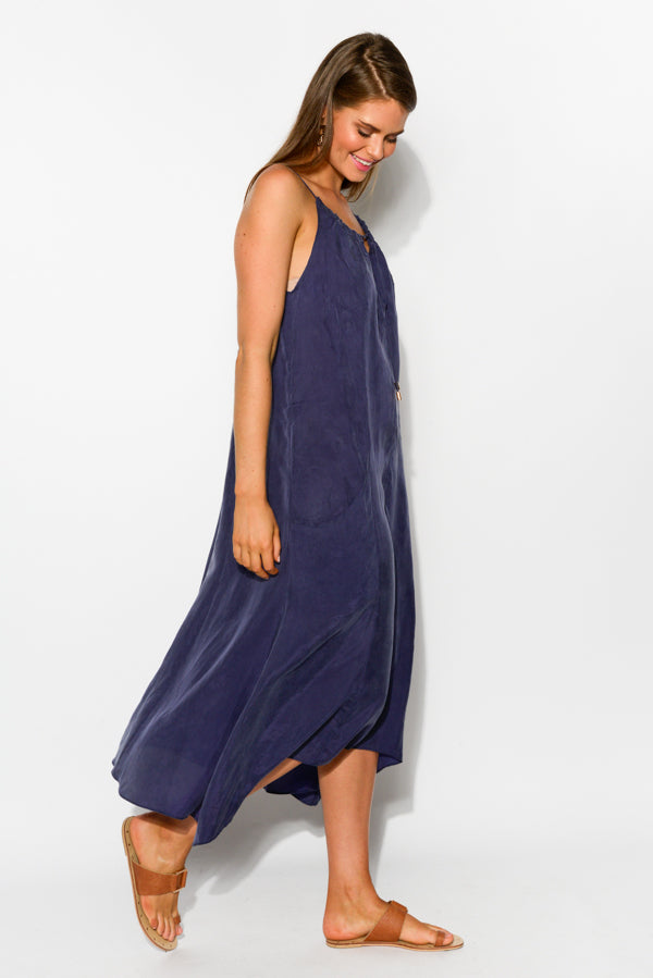 Indigo Gathered Cupro Dress - Blue Bungalow