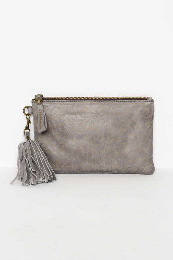 Grey Alice Leather Zippie Clutch - Blue Bungalow