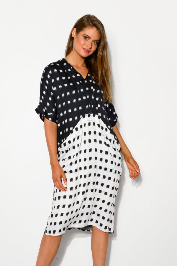 Monochrome Squares Pocket Dress - Blue Bungalow