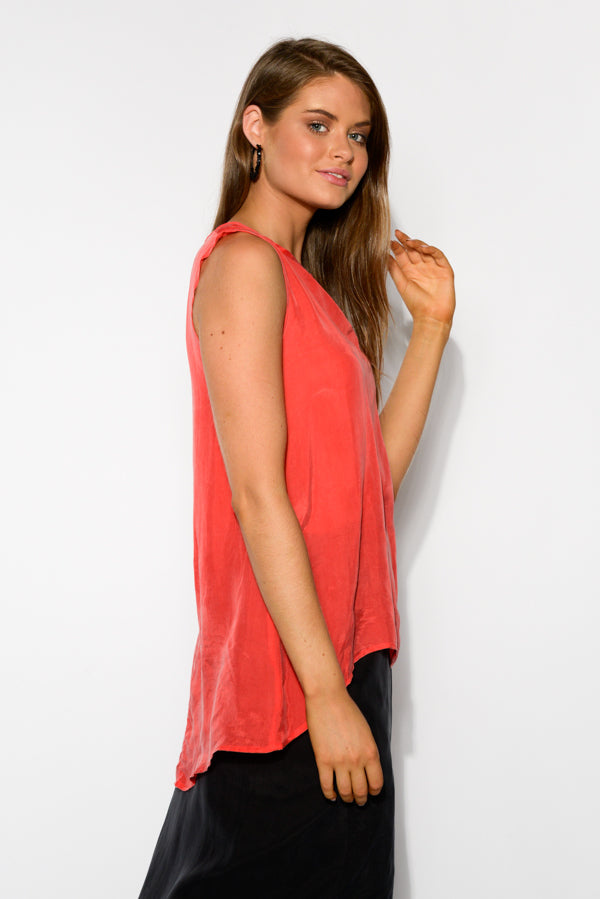 Red Hi-lo Cupro Top - Blue Bungalow