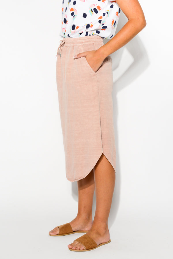Hazel Washed Pink Midi Skirt - Blue Bungalow