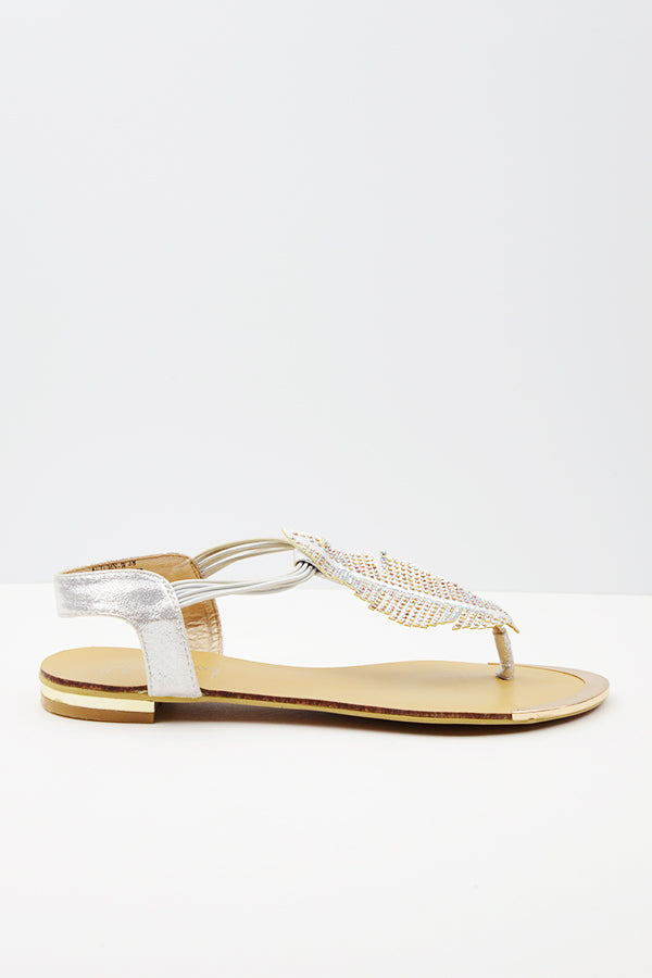 Silver Autumn Leaf Sandal - Blue Bungalow
