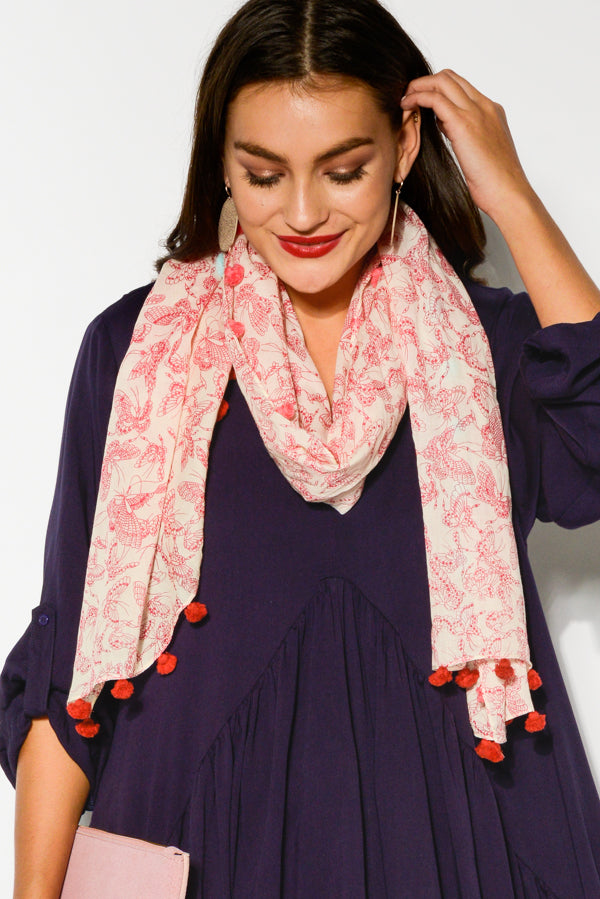 Pink Butterfly Cotton Scarf - Blue Bungalow