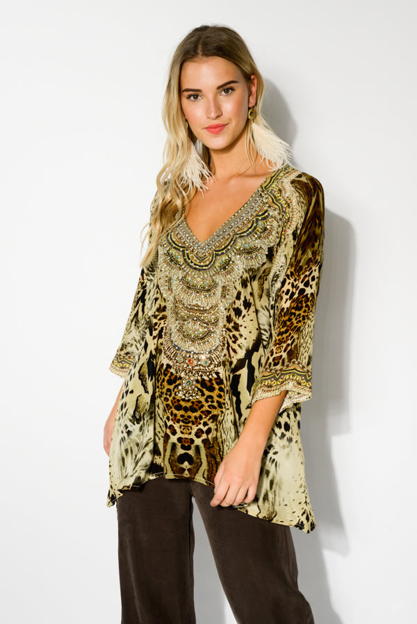 Brown Zulu Silk Gypsy Top - Blue Bungalow