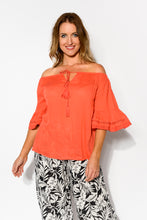 Blair Melon Off Shoulder Top - Blue Bungalow