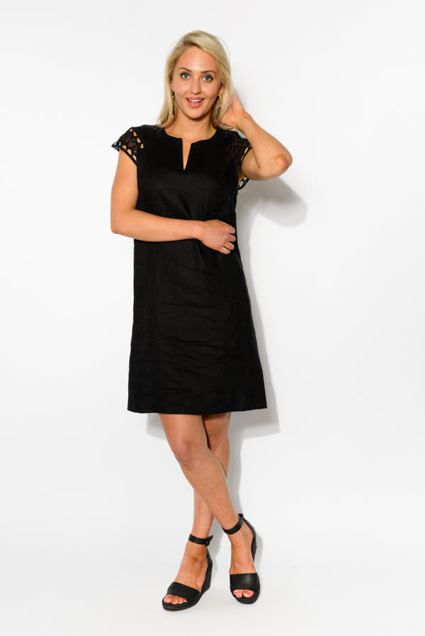 Sierra Black Linen Dress - Blue Bungalow