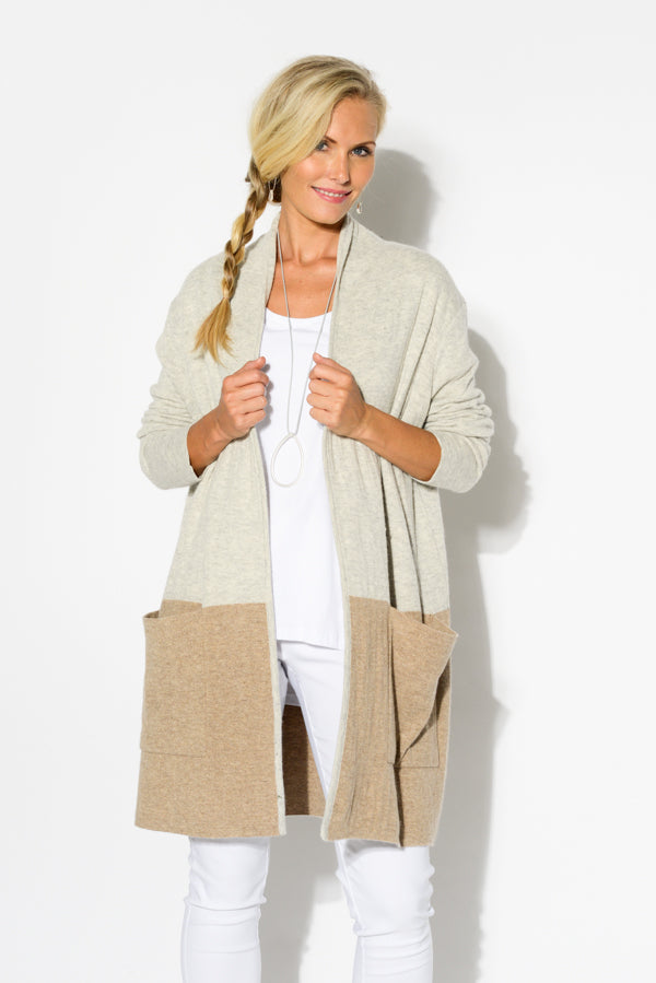 Caramel Two Tone Knit Cardigan