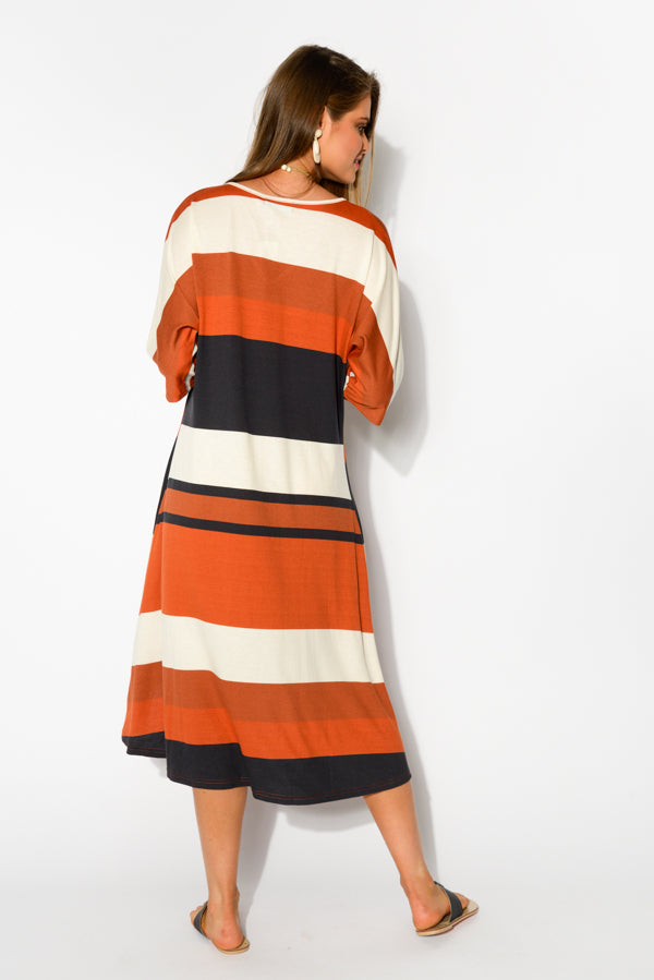 Rust Stripe A Line Dress - Blue Bungalow