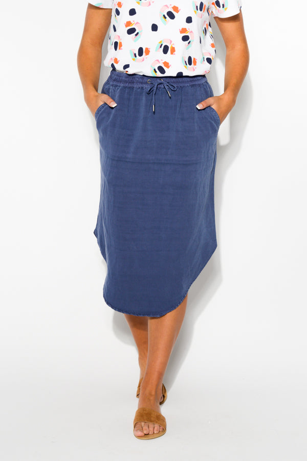 Hazel Washed Blue Midi Skirt - Blue Bungalow