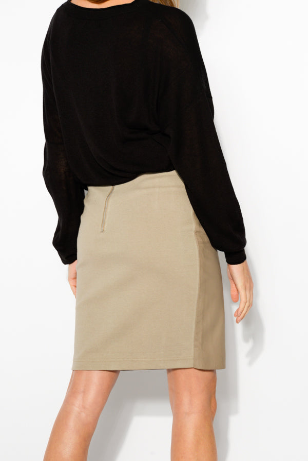 Harlem Brown Leather Front Skirt - Blue Bungalow