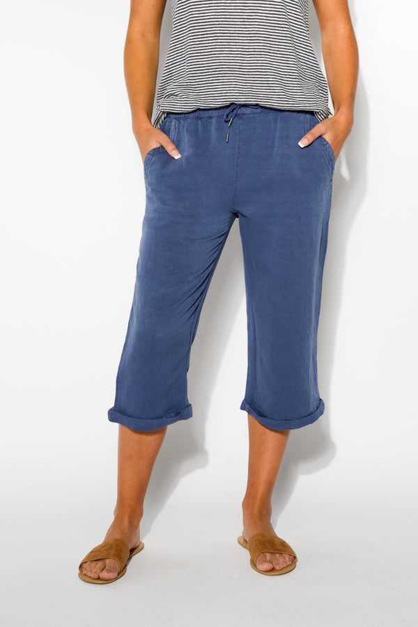 Stevie Blue Cropped Pant - Blue Bungalow