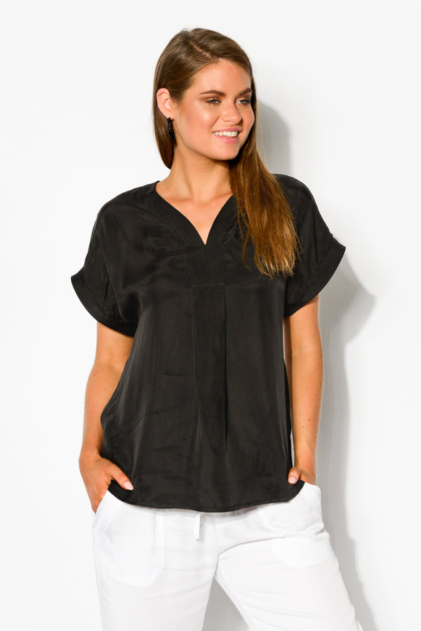 Black Cupro Stitch Detail Top - Blue Bungalow