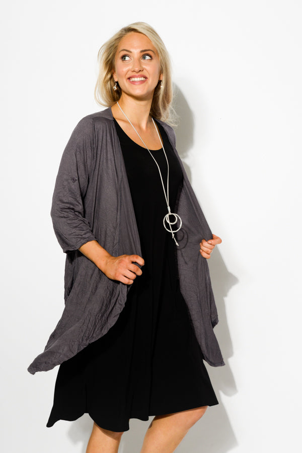 Charcoal Crinkle Cotton Drape Cardigan