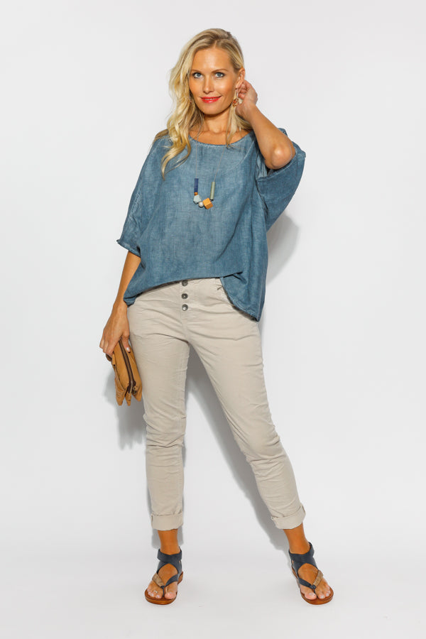 Abigail Beige Stretch Back Jean - Blue Bungalow