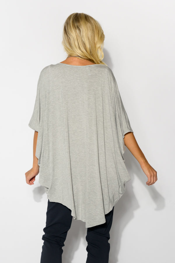 Emory Grey Bamboo Hi-Lo Batwing Top - Blue Bungalow