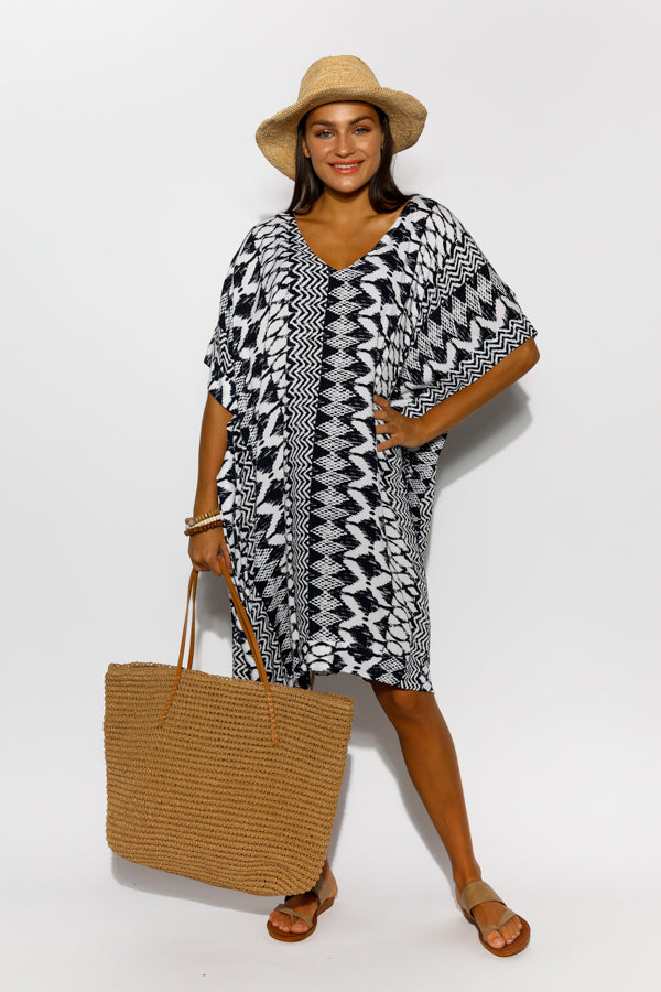 Byron Navy Kaftan Dress - Blue Bungalow