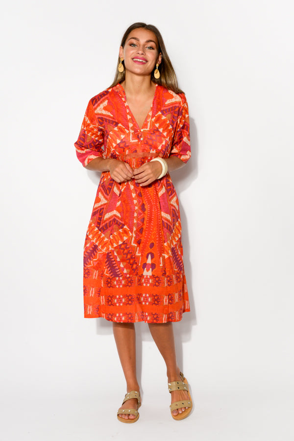 Mareeba Red Aztec Sleeved Cotton Dress - Blue Bungalow