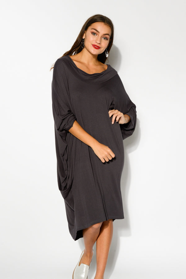 Charcoal Cowl Neck Batwing Dress