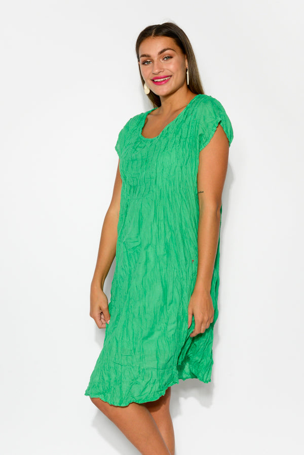 Green Crinkle Cotton Cap Dress - Blue Bungalow