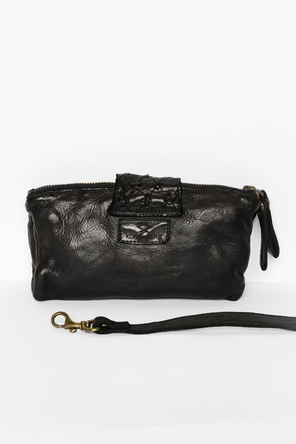 Black Poppy Leather Clutch - Blue Bungalow