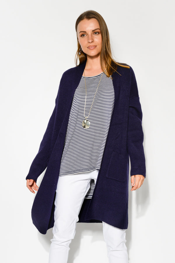 Sienna Navy Knit Cardigan - Blue Bungalow