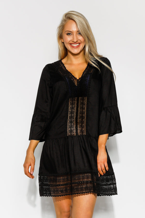 Black Acadia Embroidered Kaftan - Blue Bungalow