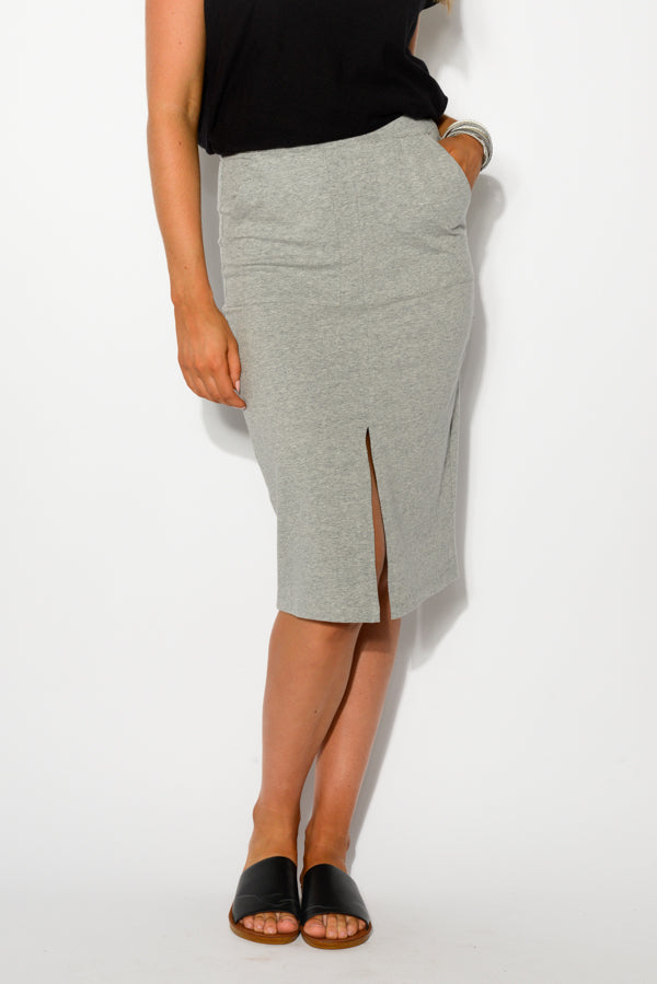 Kristen Grey Midi Skirt - Blue Bungalow