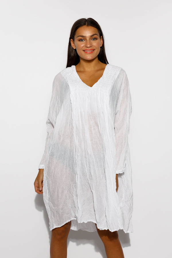 White Cotton Pucker Dress