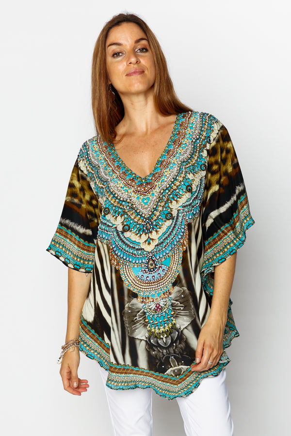 Brown Blue Mustique Silk Butterfly Top - Blue Bungalow
