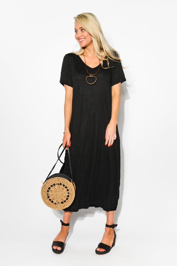 Black Cotton Side Tie Draped Dress - Blue Bungalow
